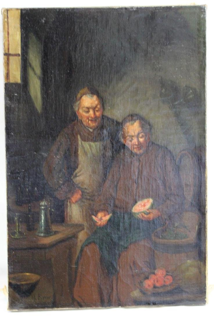 19 th Century Oil On Canvas Painting Two Monks Signed