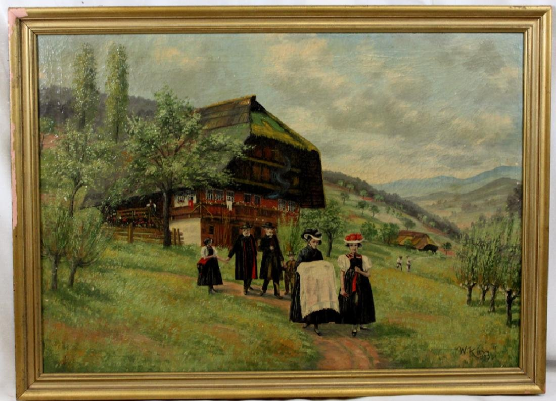 19 Century Oil On Canvas Painting by W. King (German