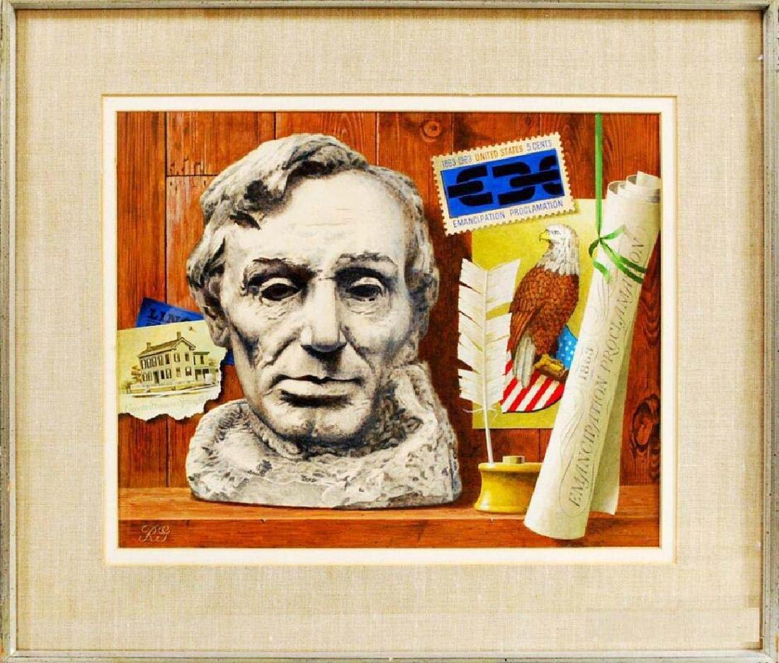 American 20th Century Trompe L'oeil Oil on Board