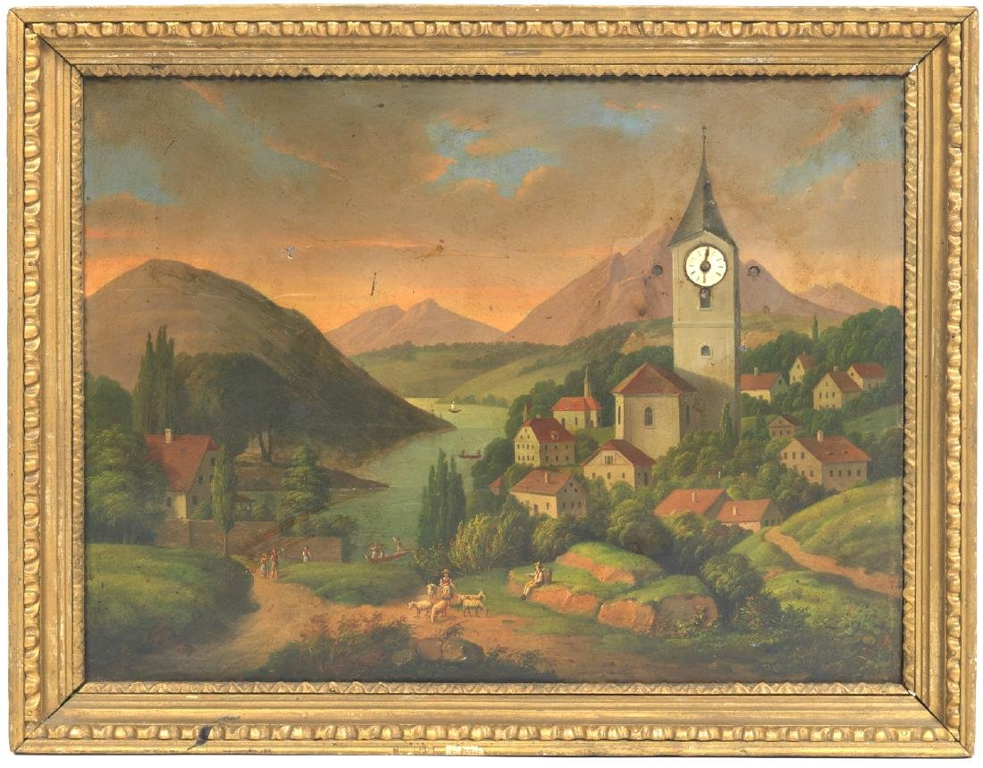 19 Century Oil Painting With Clock