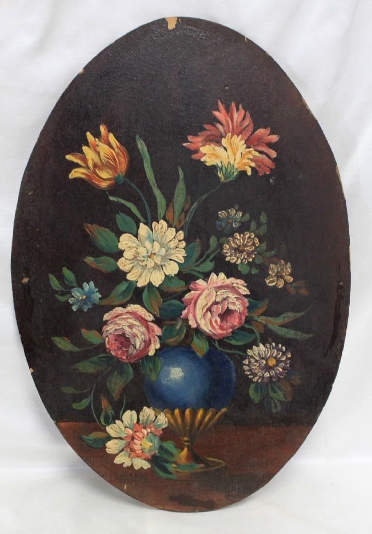 19 CENTURY ITALIAN OVAL OIL PAINTING OF FLOWERS