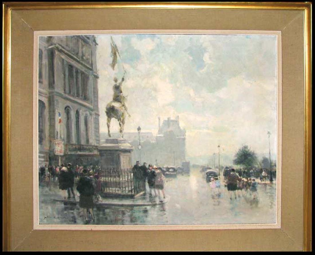 Large Oil on Canvas French Painting by Jules Rene Herve