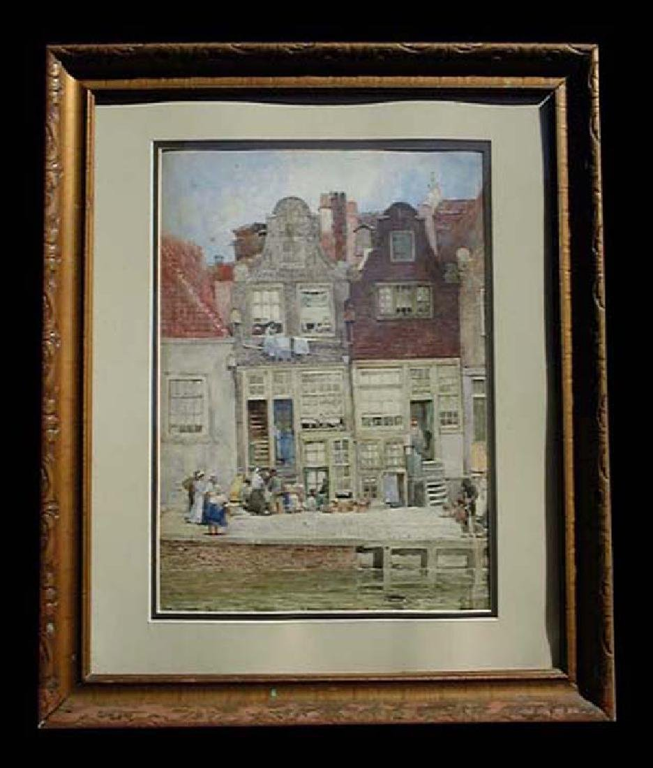 Late 19 Century German Gouache Painting By Hans