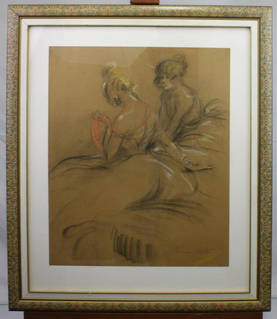 French Pastel on brown paper By Louis Icart Painting