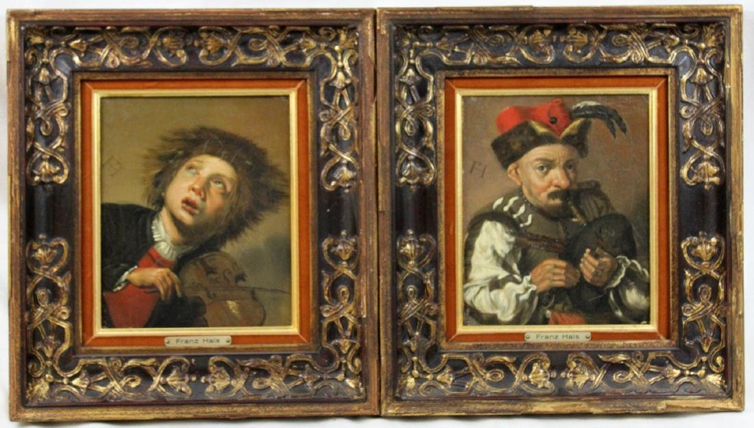 Pair Oil on Canvas Painting After Frans Hals (Dutch