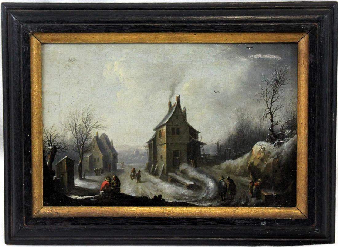 Oil On Canvas Dutch Painting Attributed to Esaias Van