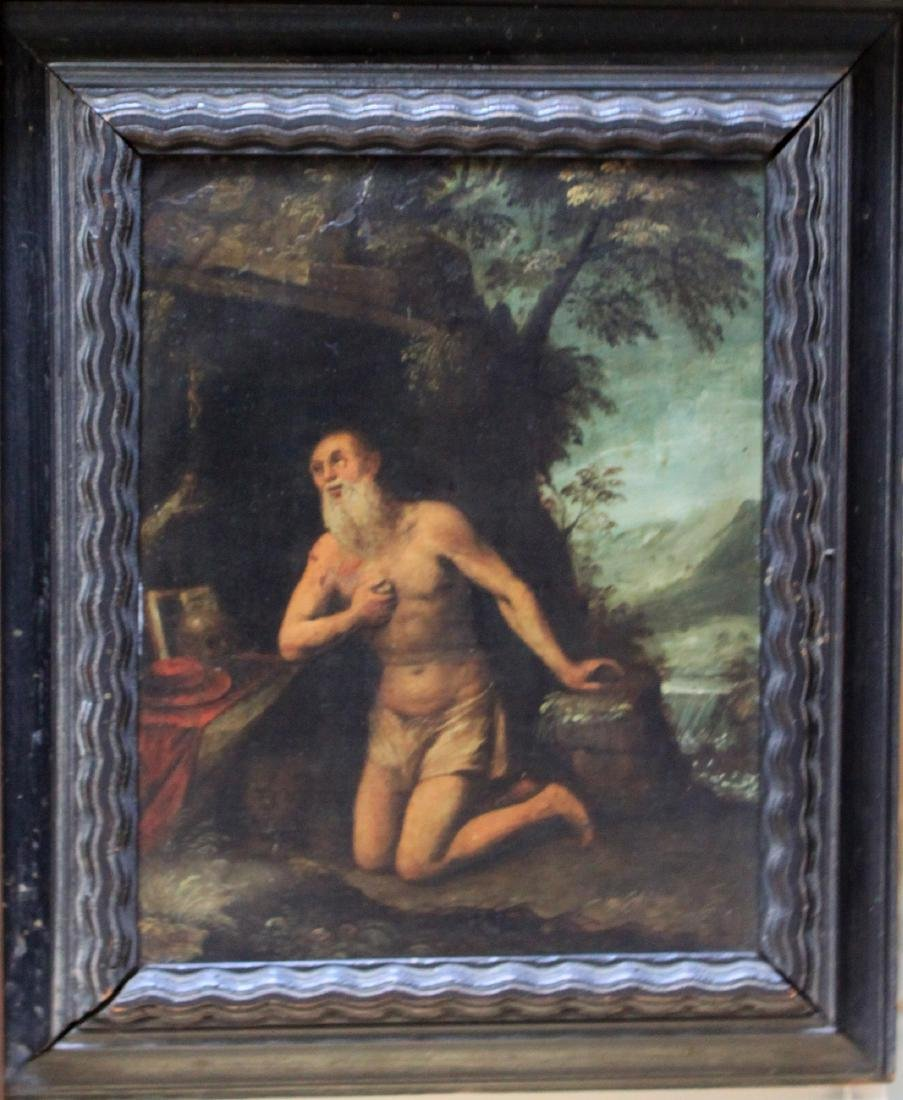 16 Century Italian Oil on Copper Painting of St. Jerome
