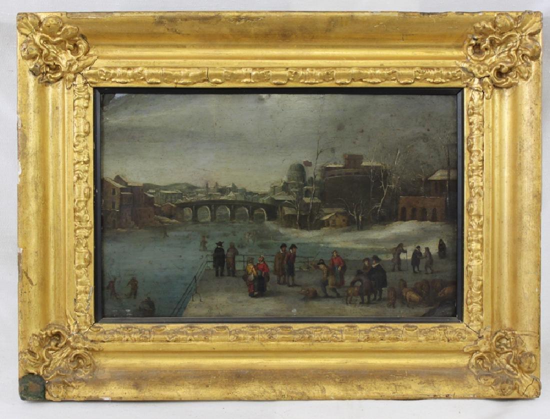 Winter Market Dutch 16-17 Century Oil on Copper