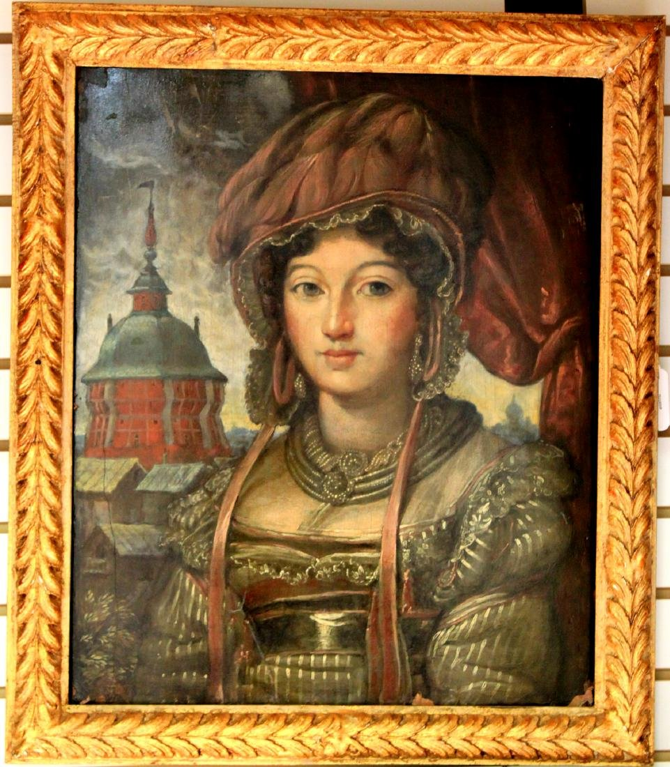 Early 19th Century Russian Oil On Panel Painting
