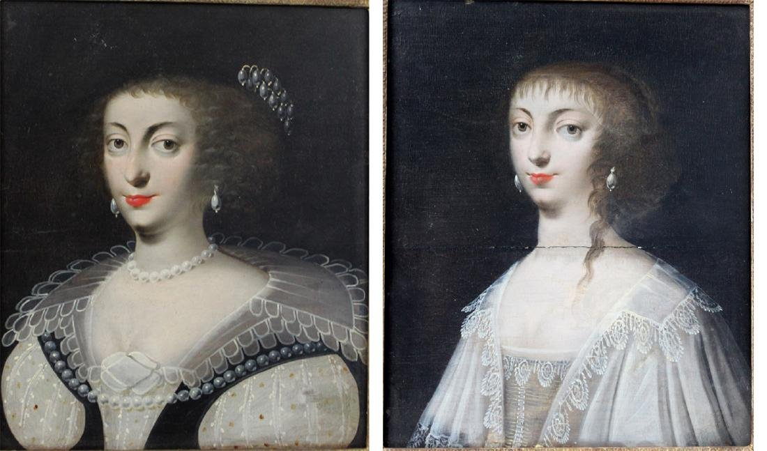 Two 17 Century French Oil on Panel Portrait Paintings