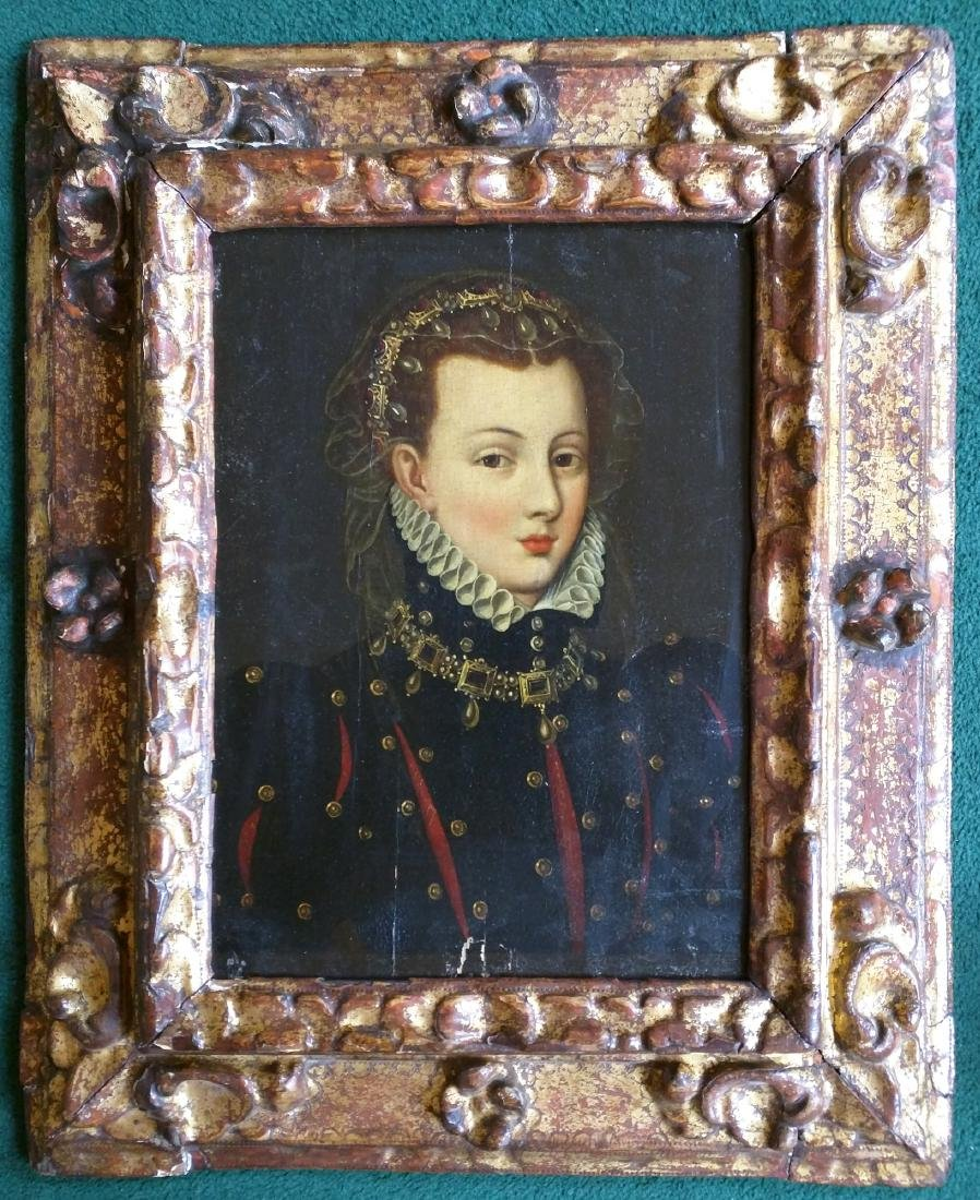 Italian 16 Century Oil On Panel Portrait Painting