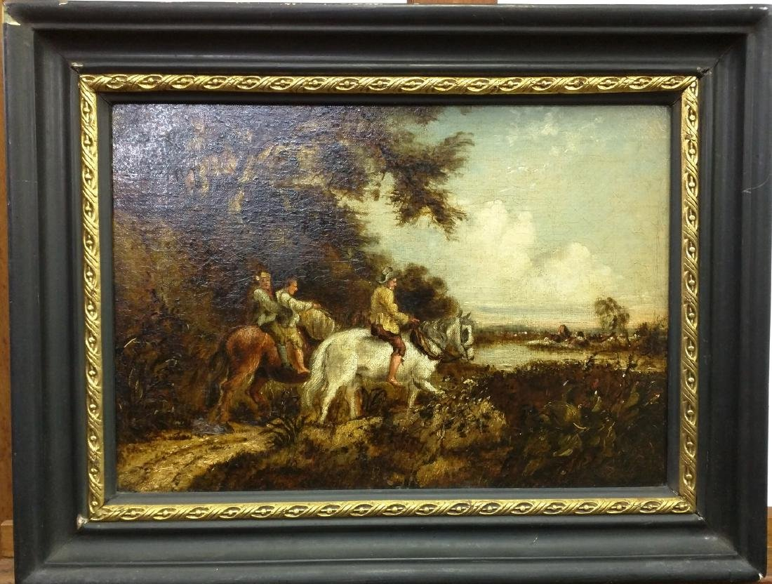 European School 18 Century Oil on Canvas Painting.