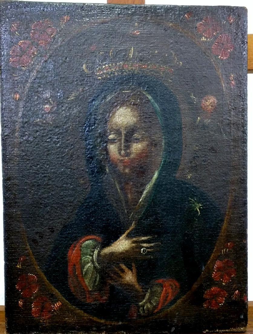 Cuzco School Oil on Canvas Painting of a Saint