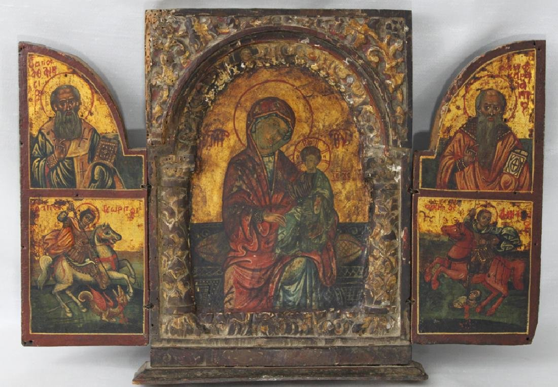 Italian Carved, Gilded, Oil on Panel Painted Triptych