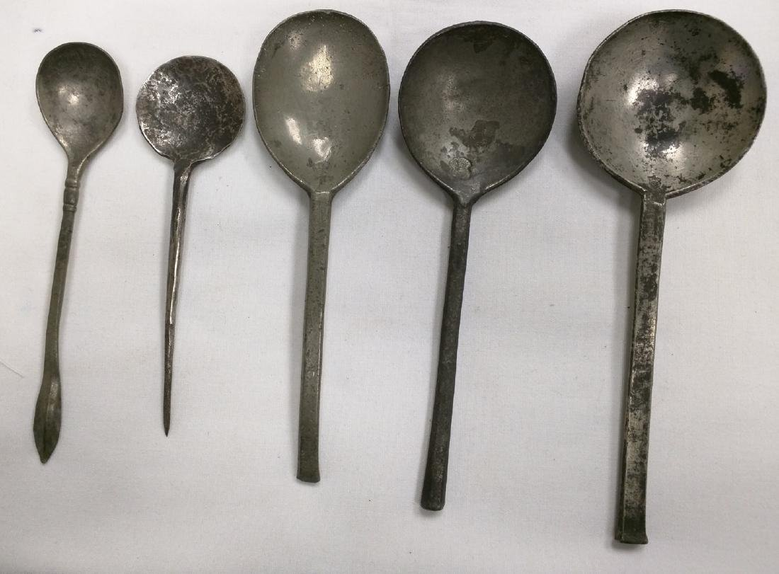 Five Dutch 16-17 Century Pewter Spoons Stamped Marks