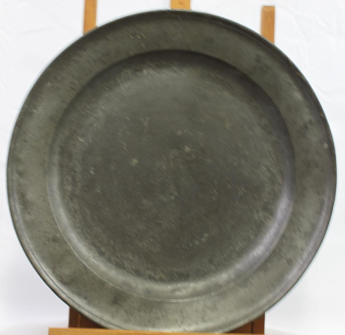 Large 17 / 18 Century Dish Pewter with Marks