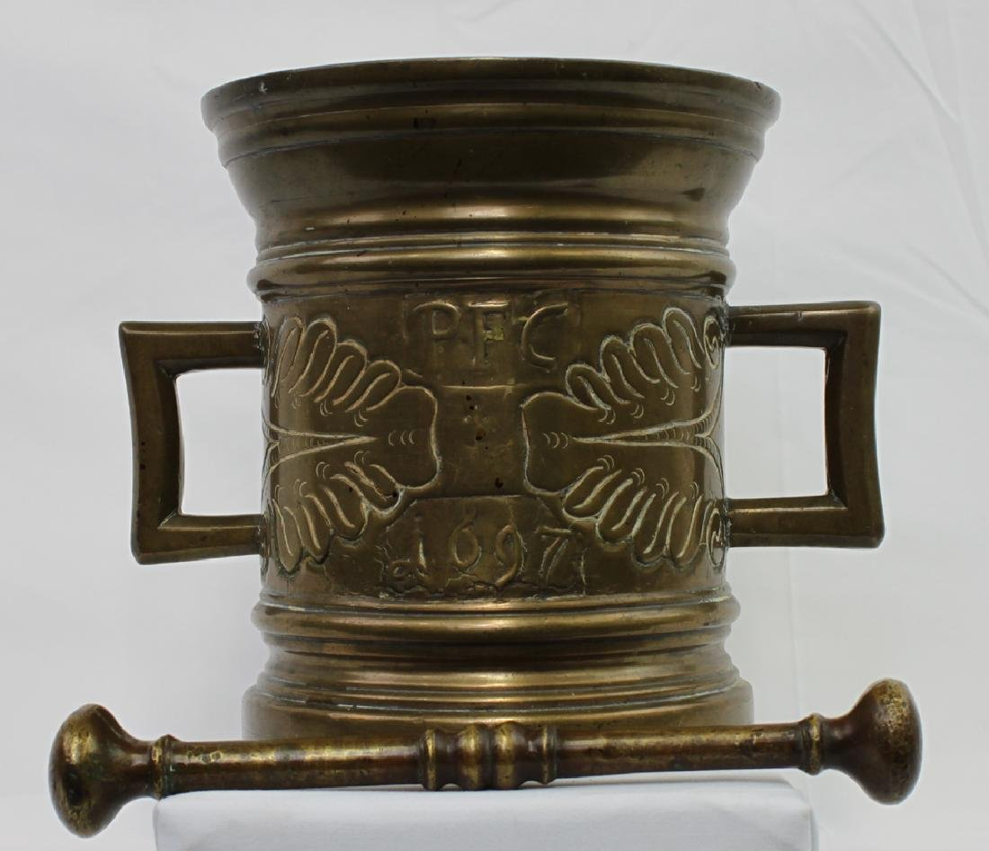 17 Century Bronze German Mortar and Pestle