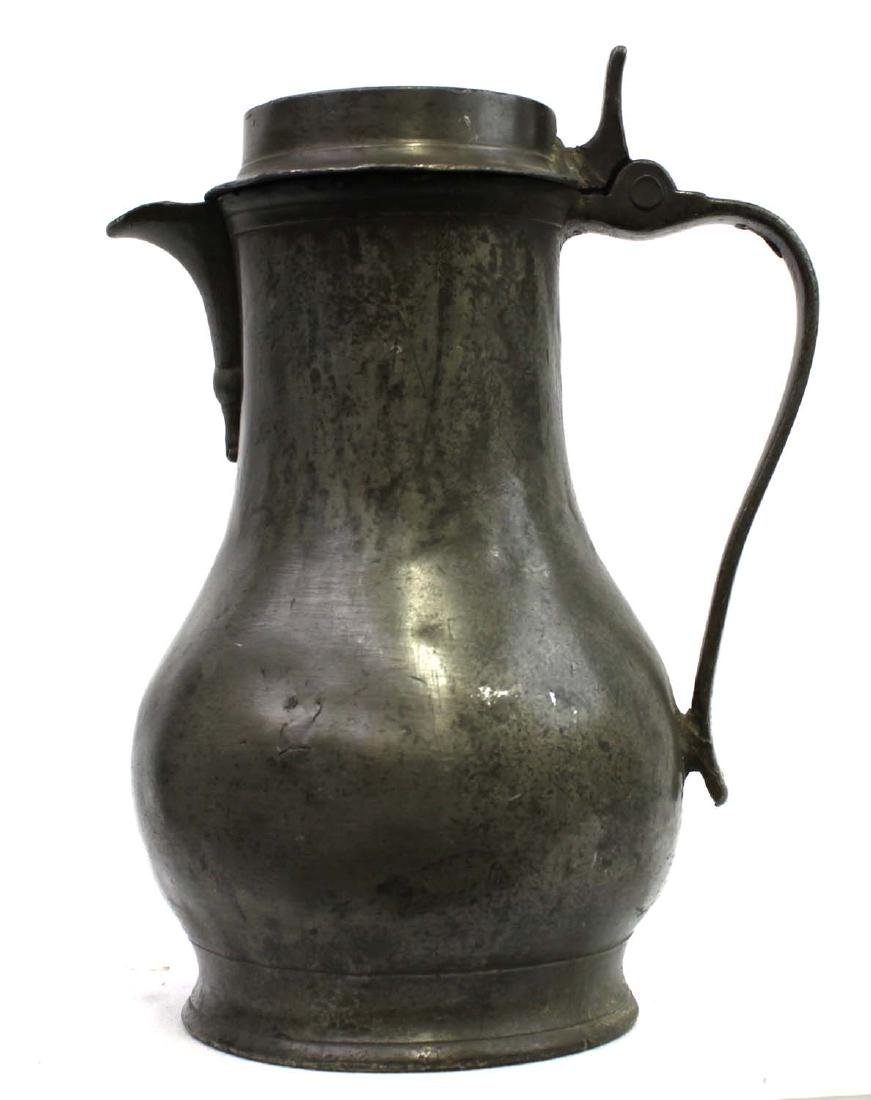 18th Century English Pewter Flagon or Tankard With