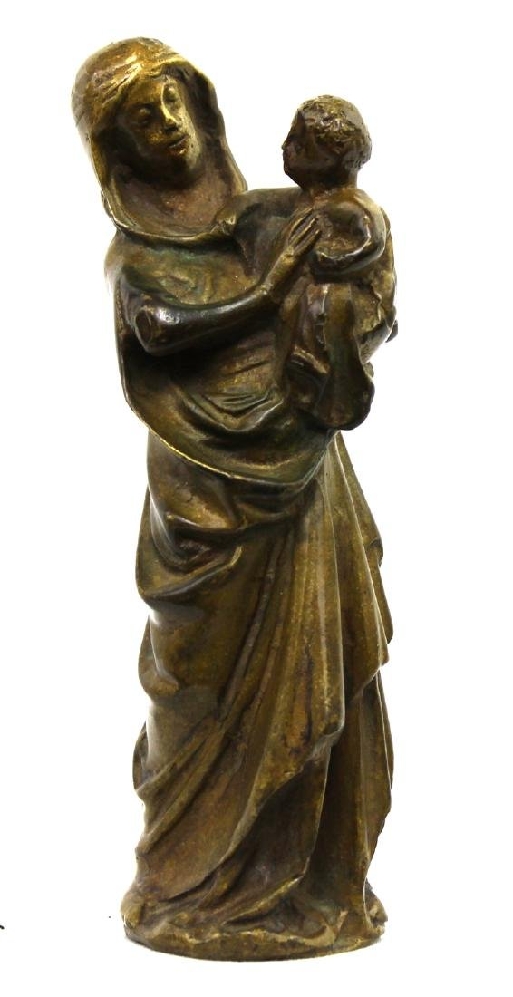 A Venetian Gilt Bronze Group of the Virgin and Child