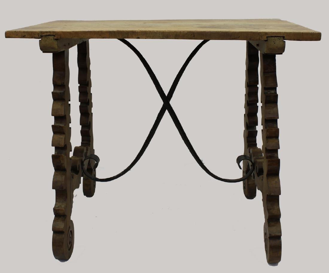 17-Century Italian Walnut Table with Wrought-Iron