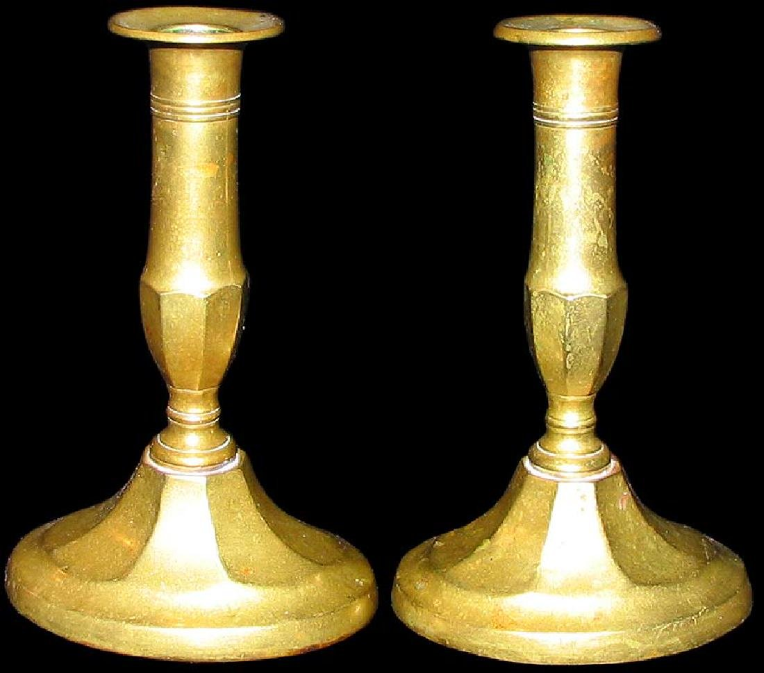 Pair Brass Single Light Candelabras Probably German