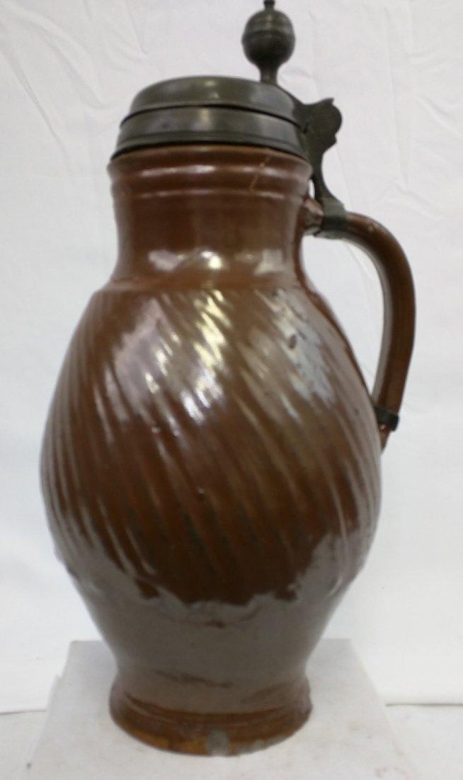 17 Century German Salt Glaze Pottery Jug