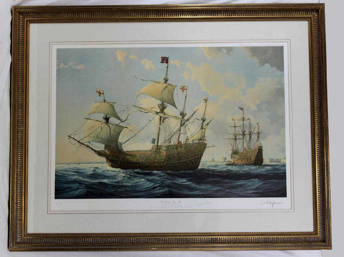 LITHOGRAPH MARY ROSE BRITISH SHIP William Henry Bishop
