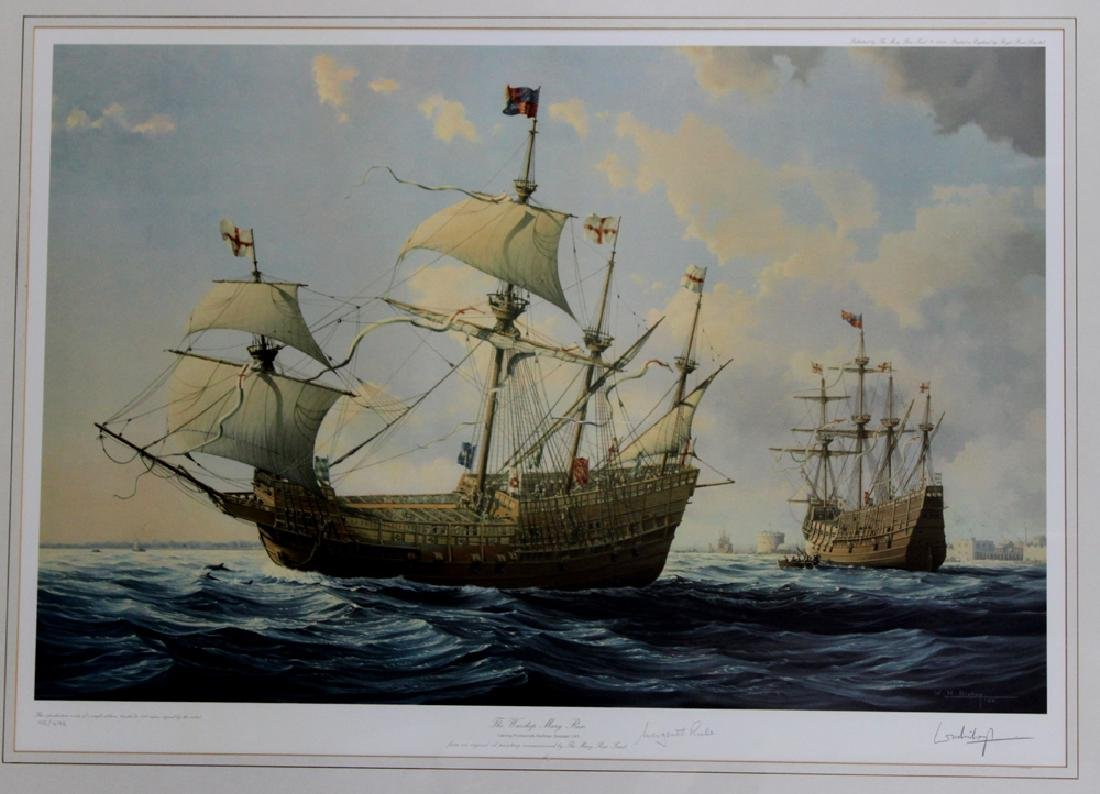 LITHOGRAPH MARY ROSE BRITISH SHIP William Henry Bishop - 2