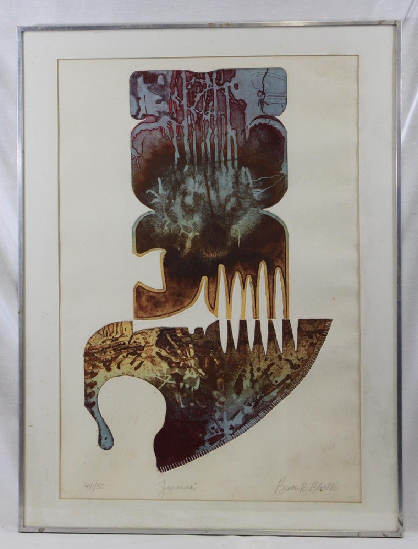 "LIMITED EDITION ETCHING ""JAPONICA"" BY B. BLACK"