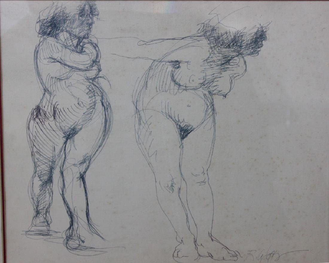 SIGNED PENCIL DRAWING OF TWO NAKED WOMEN - 2