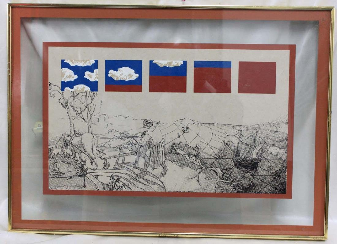 OLD FRAMED SIGNED LITHOGRAPH OF WORLD