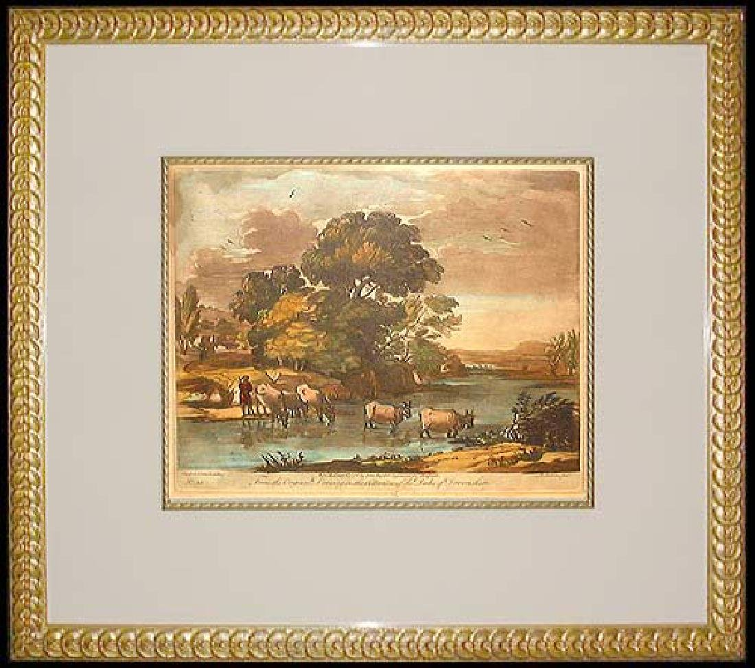 French hand colored engraving