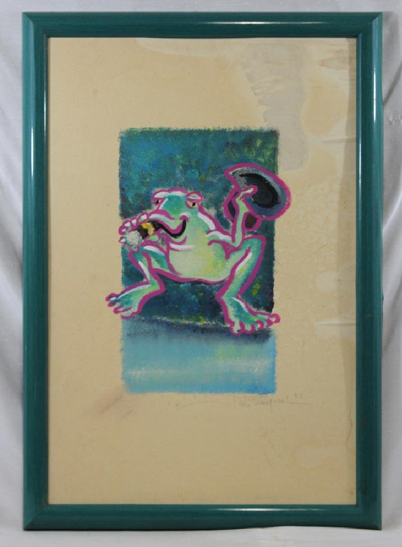 Oil on Paper Painting of a Frog, Signed and Dated