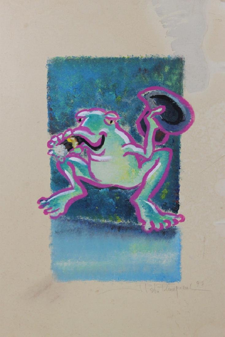 Oil on Paper Painting of a Frog, Signed and Dated - 2