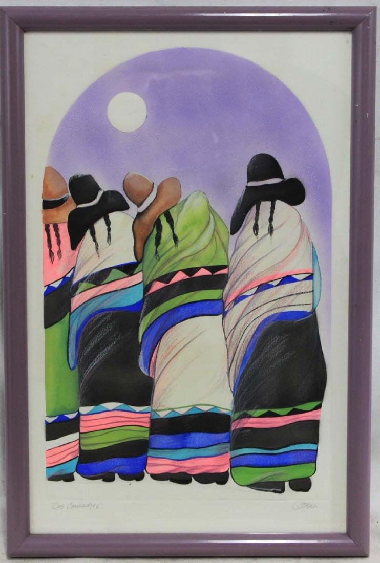 SIGNED ETCHING OF MEXICAN PONCHO LADIES, MOON