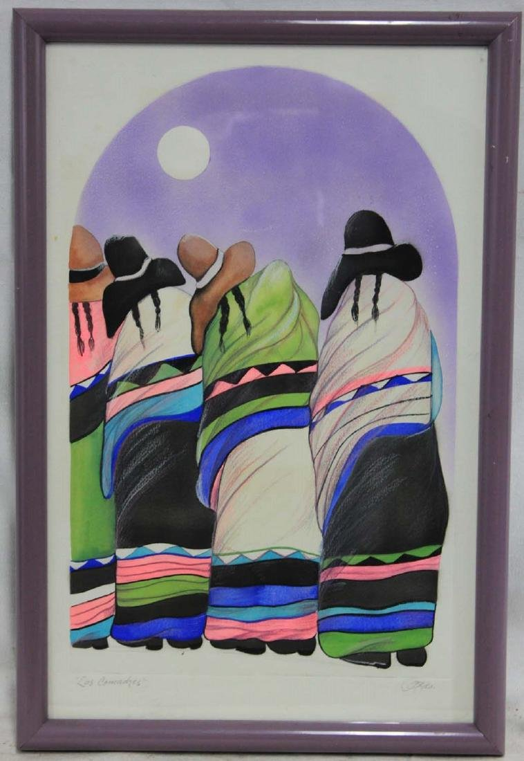 SIGNED ETCHING OF MEXICAN PONCHO LADIES, MOON - 2