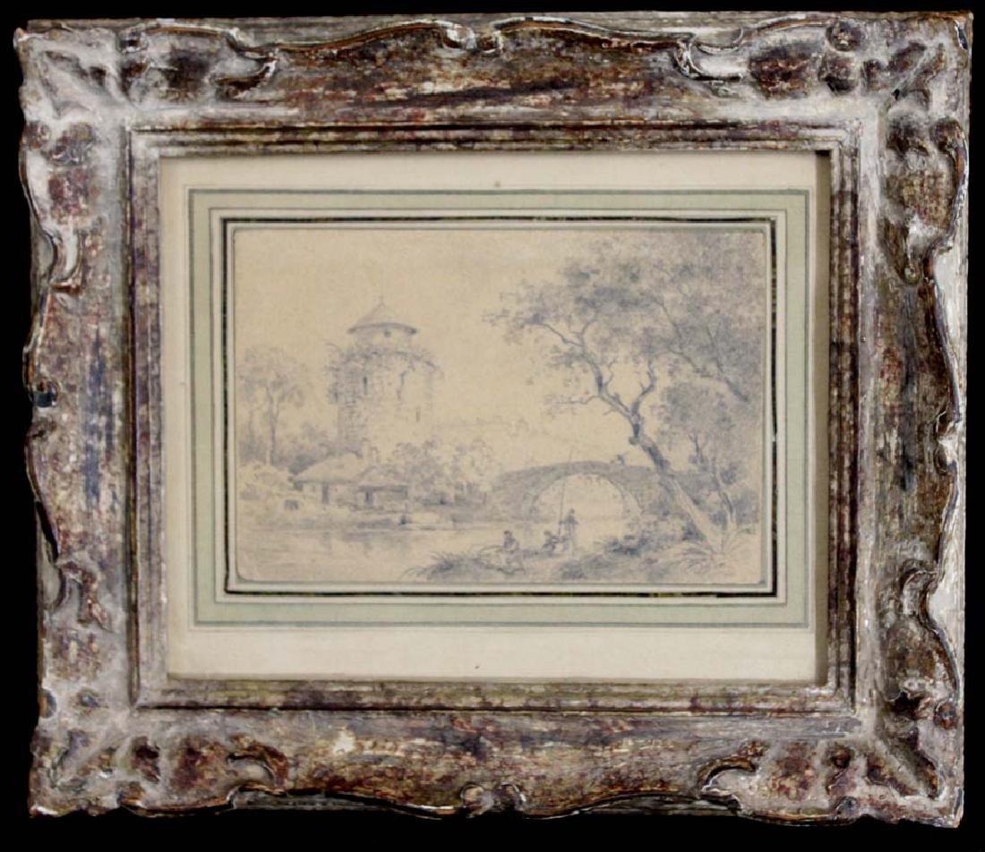 Dutch 17 Century Landscape Pencil Drawing