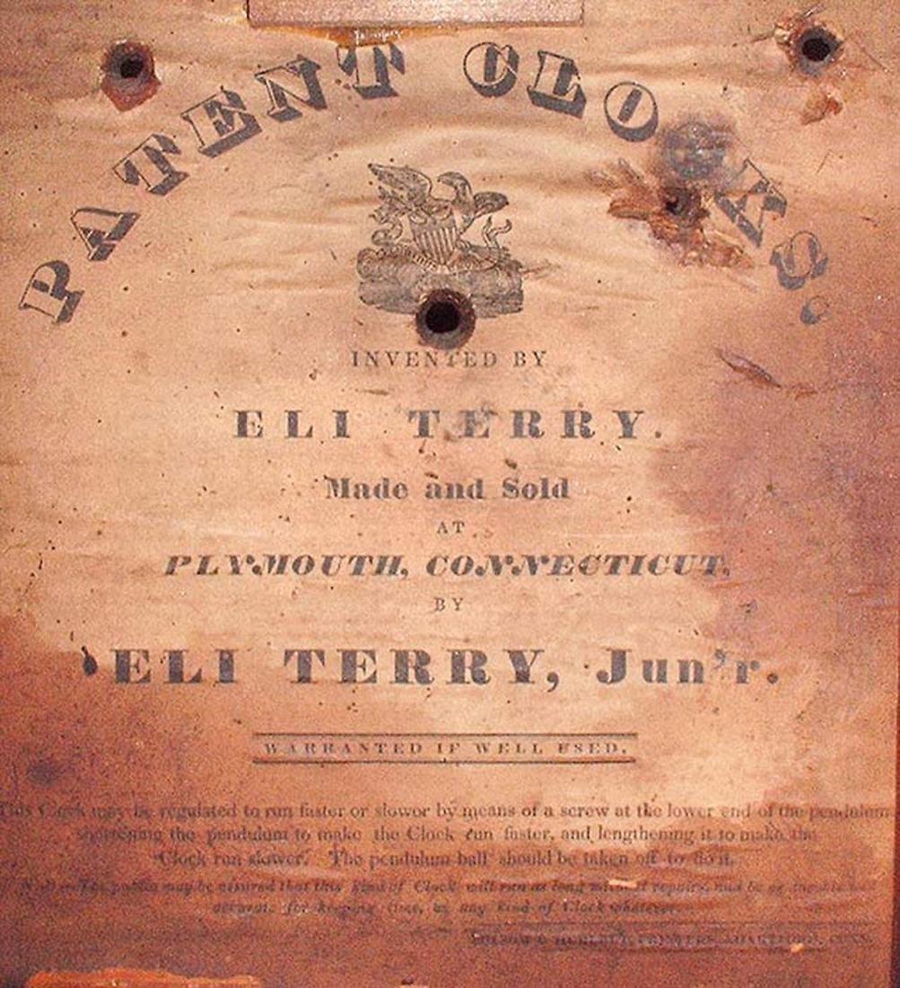CIRCA 1825 ELI TERRY JR., A CARVED MAHOGANY SHELF CLOCK - 10