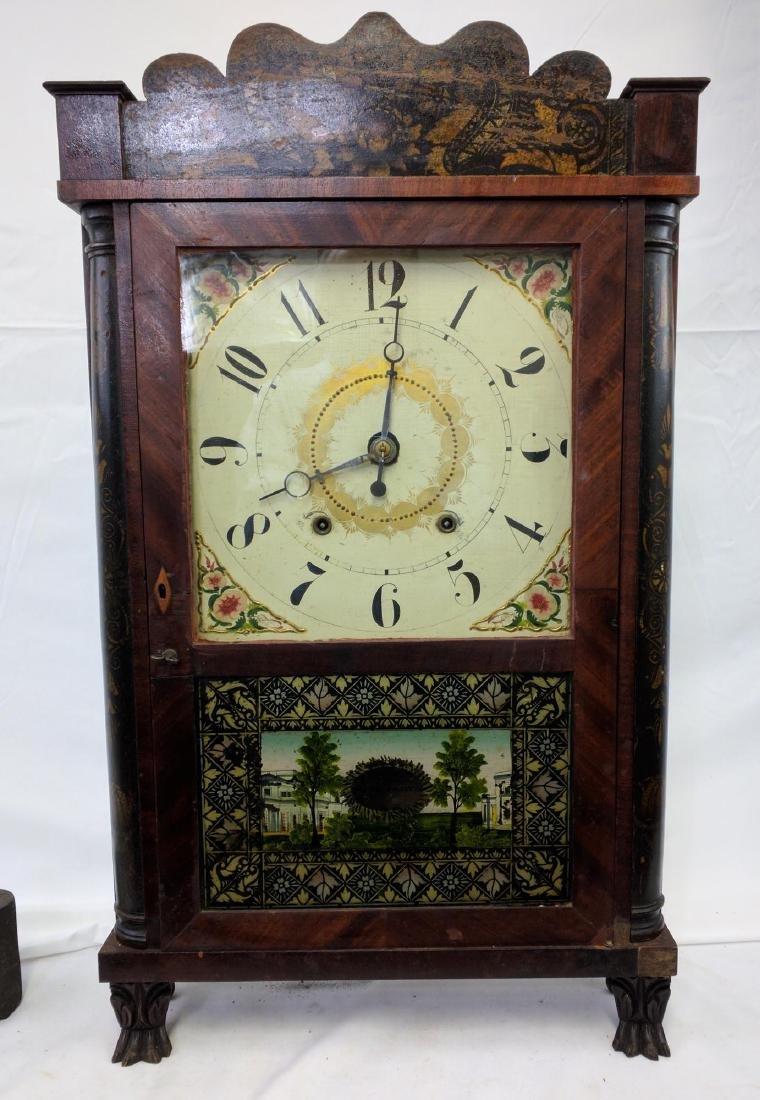CIRCA 1825 ELI TERRY JR., A CARVED MAHOGANY SHELF CLOCK