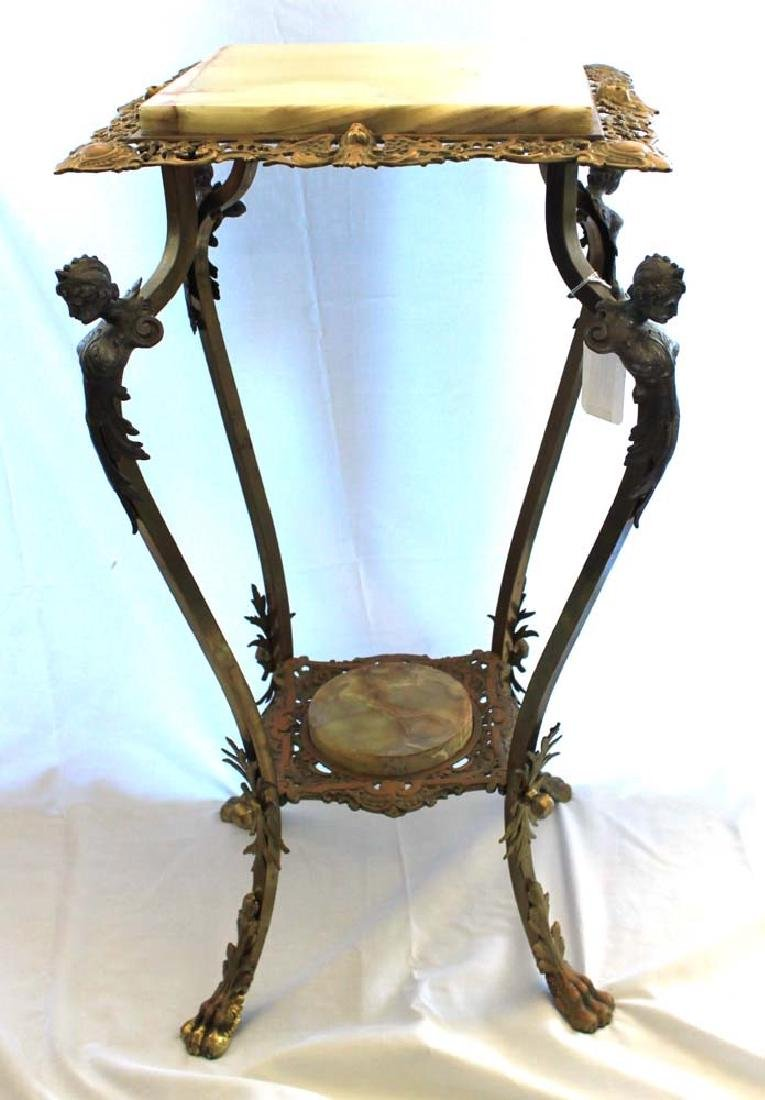 Victorian Brass and Onyx Plant Stand (Pedestal)
