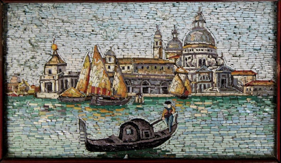 Venetian Micro Mosaic Cityscape Plaque.