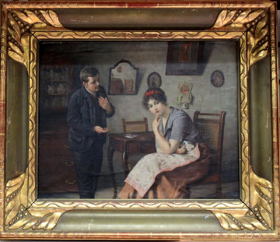 19 C. German Oil on Canvas Painting by Alois Heinrich