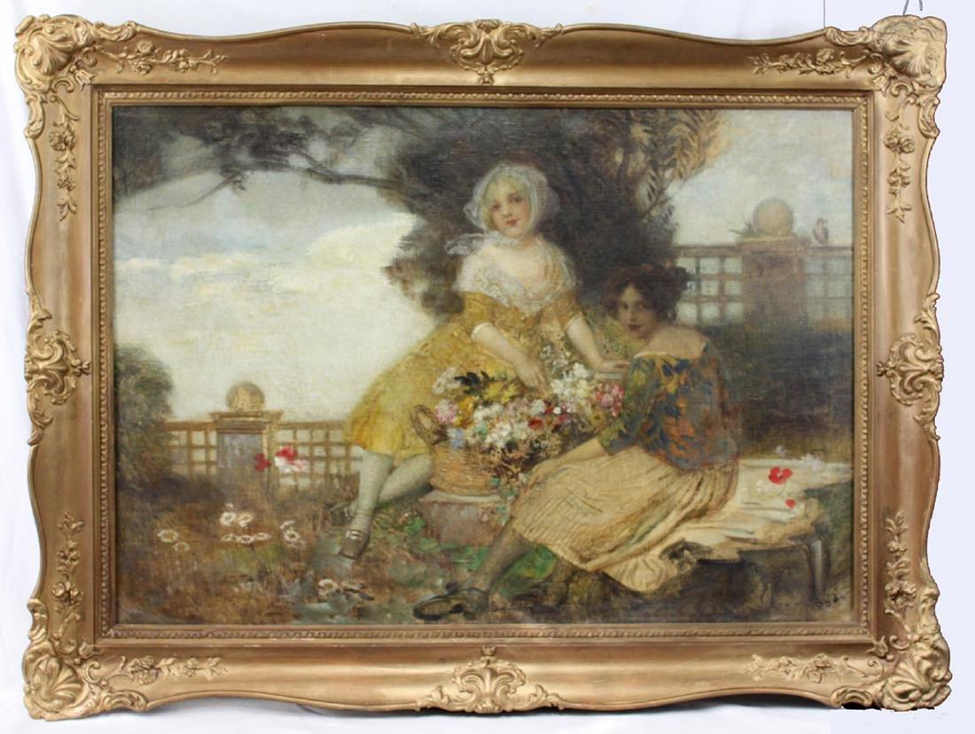 19 Century Austrian Oil On Canvas Painting By Edward