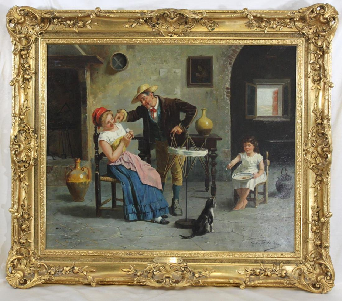 19 Century Italian Oil on Canvas Painting by Petrini,