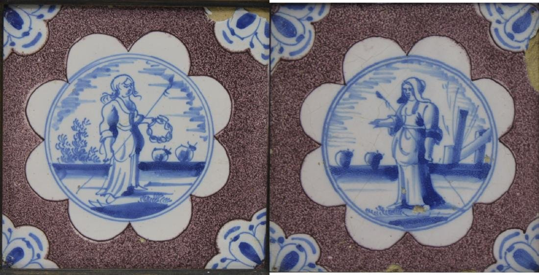 Pair of 17 Century Dutch Delft Purple and Blue Tiles