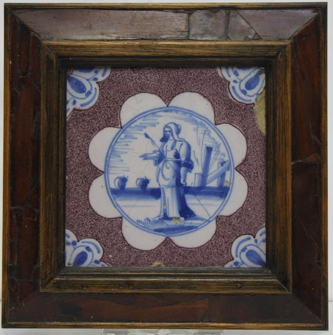 Pair of 17 Century Dutch Delft Purple and Blue Tiles - 2