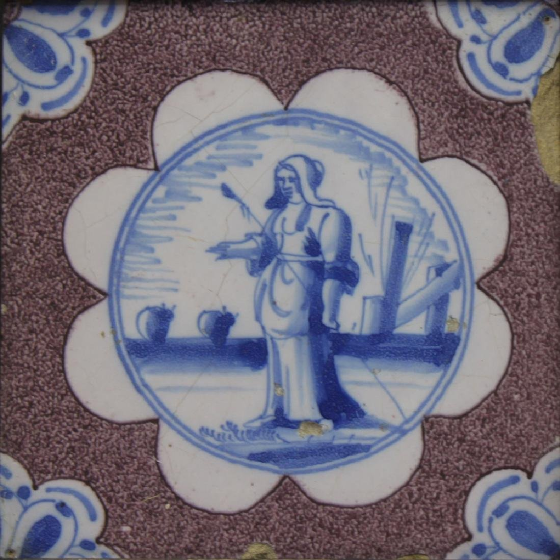 Pair of 17 Century Dutch Delft Purple and Blue Tiles - 3