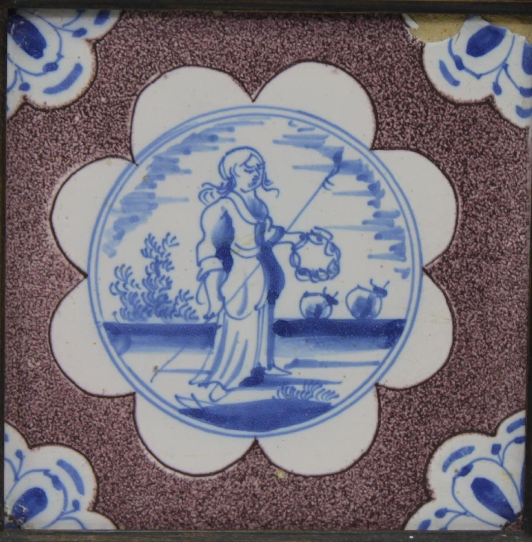 Pair of 17 Century Dutch Delft Purple and Blue Tiles - 5