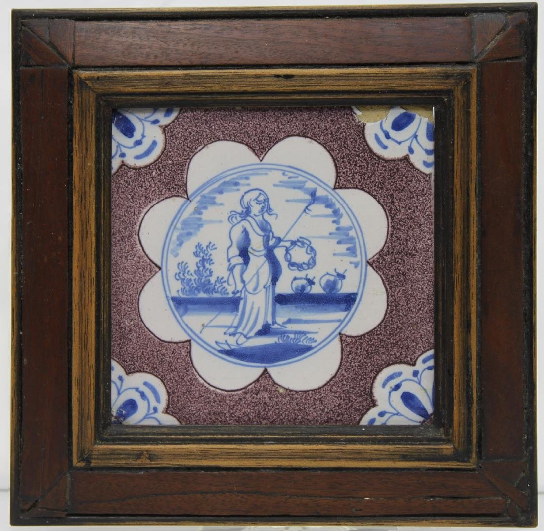 Pair of 17 Century Dutch Delft Purple and Blue Tiles - 6