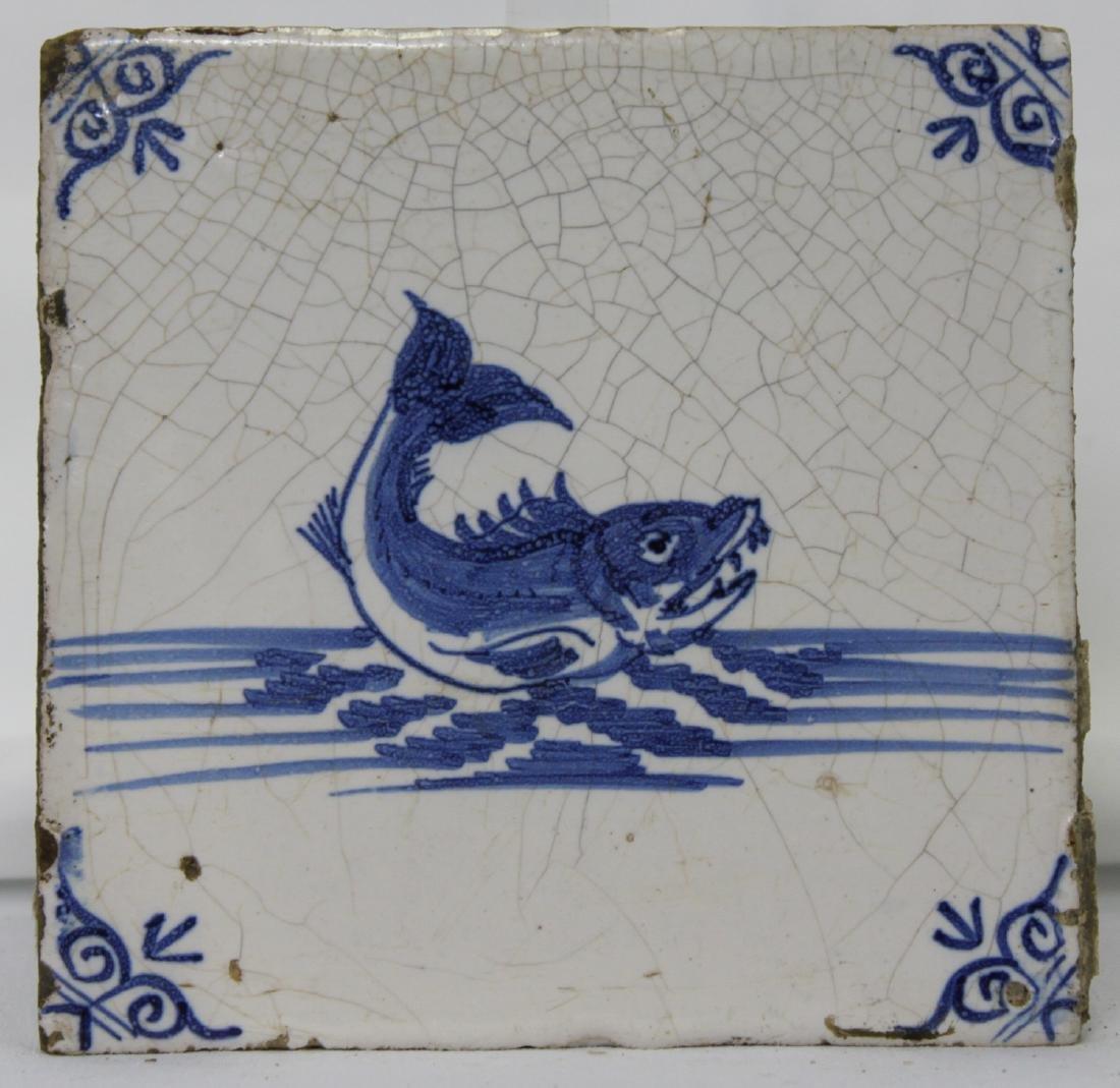 17 Century Dutch Delft Blue Tile